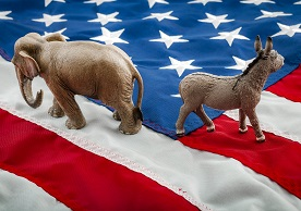 elephant and donkey, symbols of US political parties, walking in different directions on an American flag background