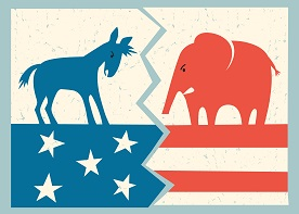 image of a Democratic icon donkey in conflict with a Republican icon elephant