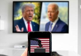 image concept of 2020 election: Trump, Biden, and voters