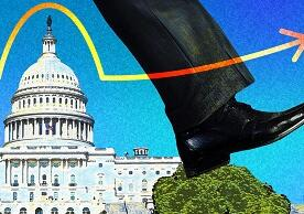 illustration by Michael S. Helfenbein of man's leg stepping over the U.S. Capitol building